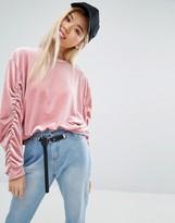 STYLE NANDA STYLENANDA Velvet Sweatshirt With Ruched Sleeves