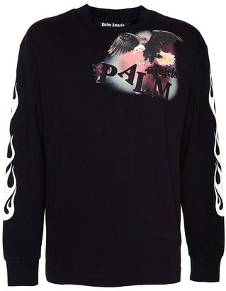 Palm Angels Black Flame Eagle Long Sleeve T-shirt
