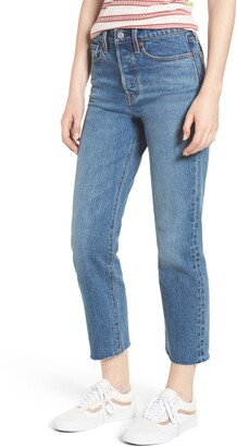 Levi's Wedgie Raw Hem High Waist Straight Leg Jeans
