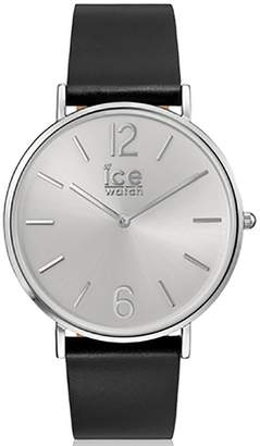 Ice Watch Ice-Watch - CITY tanner Black Silver - Men's (Unisex) wristwatch with leather strap - 001514 (Medium)