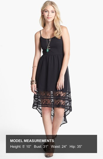 Band of Gypsies Lace Hem High/Low Dress (Juniors)