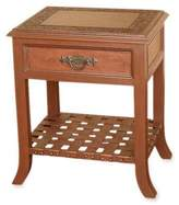Mohena wood and leather accent table, 'Hacienda Home'