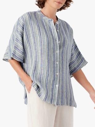 Brora Linen Striped Tunic, Sky/Lime