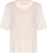 Raquel Allegra Box-cut shredded jersey T-shirt
