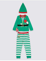 Marks and Spencer Pure Cotton Elf Pyjamas with Hat (9 Months - 8 Years)