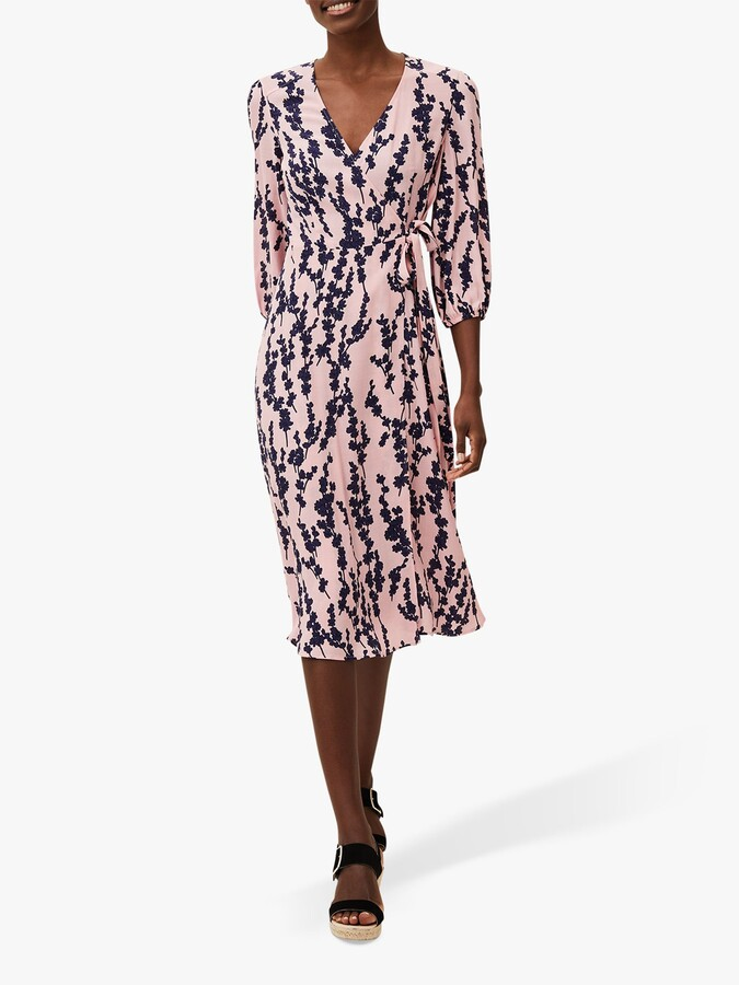 Thumbnail for your product : Phase Eight Jean Floral Print Midi Wrap Dress, Pink/Navy