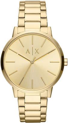 Armani Exchange Men Cayde Gold-Tone Stainless Steel Bracelet Watch 42mm