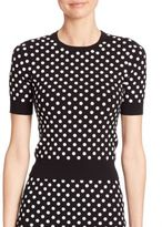 Michael Kors Embroidered Polka Dot Crewneck Top