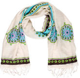 Tory Burch Embroidered Wool-Silk Shawl