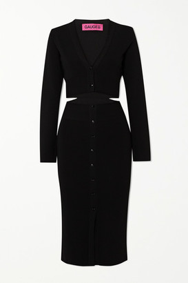 GAUGE81 Malaga Cutout Stretch-knit Midi Dress - Black