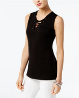 INC International Concepts Lace-Up Tank, Created for Macy's