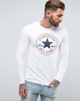Converse Core Logo Longsleeve T-Shirt In White 10002177-A03