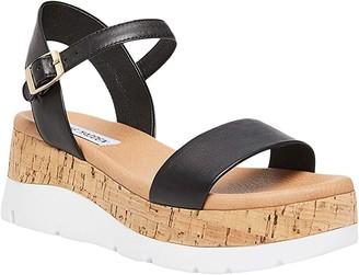 Steve Madden Roselita Wedge Sandal (Black Leather) Women's Shoes
