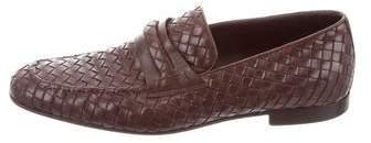 Bottega Veneta Intrecciato Square-Toe Loafers