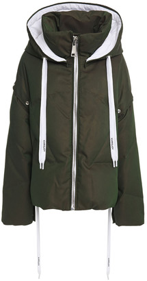 KHRISJOY Quilted Glossed-shell Hooded Down Jacket