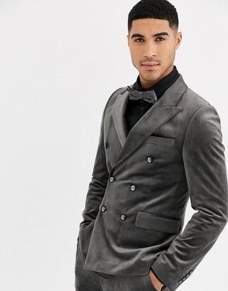 Gianni Feraud Skinny Fit Velvet Double Breasted Peak Lapel Suit Jacket
