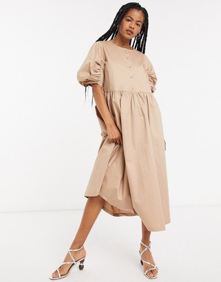 Selected puff sleeve midi dress in beige