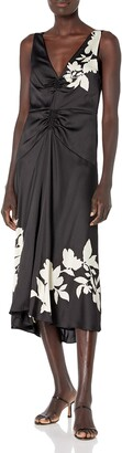 Vince Women's Floral Silhouette Ruched V-Neck Dress