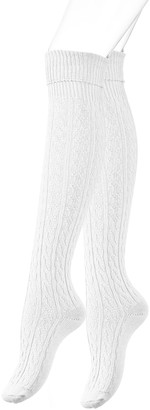 Vincent Creation Women's/Ladies knee high lenght Boot Socks with cable knitt by VCA (One Size