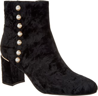 Isaac Mizrahi Live! Crushed Velvet Booties with Faux Pearls