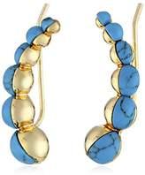 Noir Turquoise Stone Curve Earrings