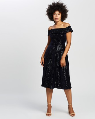 Review Women's Navy Off the Shoulder Dresses - Midnight Glimmer Dress - Size One Size, 6 at The Iconic