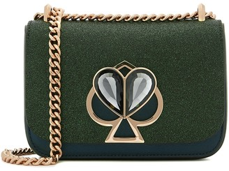 Kate Spade Nicola Metallic Dark Green Leather Shoulder Bag