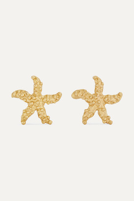 Pippa Small Net Sustain Starfish 18-karat Gold Earrings