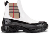 Burberry Ankle Boots in White & Archive Beige | FWRD