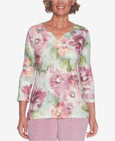 Alfred Dunner Winter Garden Embellished V-Neck Sweater