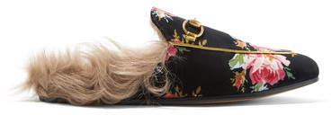 Gucci Princetown Horsebit-detailed Shearling-lined Floral-print Velvet Slippers - Black
