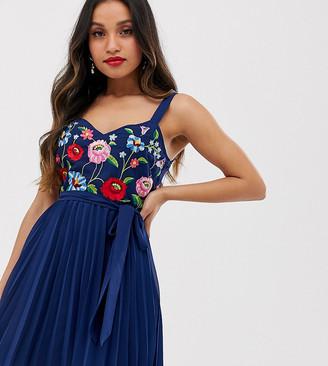 Asos DESIGN Petite embroidered pleated cami mini dress
