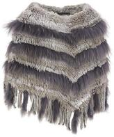 Wilsons Leather Womens Fur Fringe Knitted Poncho