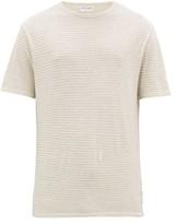 Officine Générale Officine Generale - Striped Cotton Jersey T Shirt - Mens - Grey White