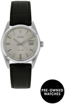 Rolex Steel Oysterdate Silver 34mm Dial Aftermarket Black Strap Mens Watch Pre-Owned