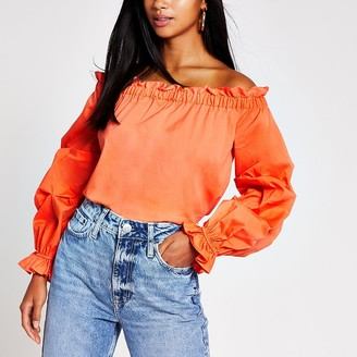 River Island Petite orange ruched long sleeve bardot top