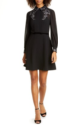 Ted Baker Embellished Collared Pleated Long Sleeve Dress