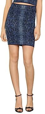 BCBGMAXAZRIA Snakeskin Print Bodycon Mini Skirt