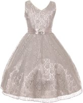 Shanil Inc. Big Girls Lace Overlay Satin Brooch Sash Junior Bridesmaid Dress
