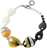 Antica Murrina Veneziana Moretta Pastel Glass Beads w/24kt Gold and Silver Leaf Bracelet