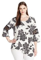 NY Collection Women's Plus Size Printed 3/4 Sleeve Asymmetical Top with Crochet At Arm