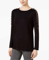 Kensie Lace-Up-Detail Sweater