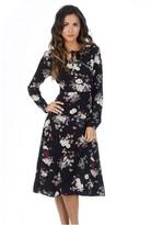 AX Paris Black Floral Long Sleeve Swing Dress