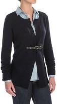 Tahari Front Buckle Cardigan Sweater - Merino Wool (For Women)