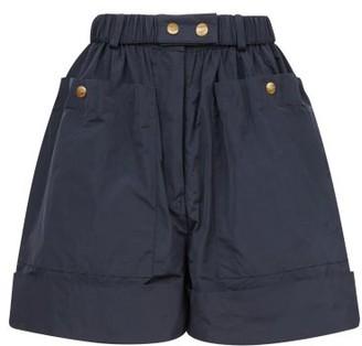 Symonds Pearmain - High-rise Taffeta Shorts - Womens - Navy