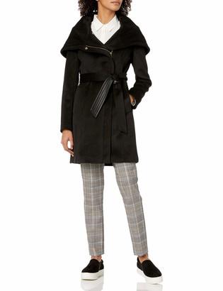 Cole Haan Women's Belted Asymmetrical Wool Coat with Oversized Hood