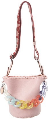 Stella McCartney Logo Rainbow Chain Bucket Bag