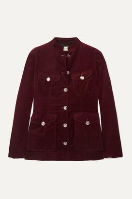 Temperley London Esmeralda Button-detailed Cotton-velvet Jacket - Burgundy