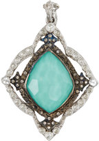Armenta New World Kite Cross Enhancer w/ Turquoise Doublet & Diamonds