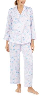 Miss Elaine Petite Women's Brushed Back Printed Satin Pajama Set